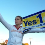 A Yes on 1 supporter demonstrating for the overturning of the bill that would have allowed same-sex couples to marry